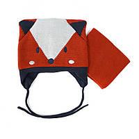 Зимняя шапка и манишка для мальчика PELUCHE 03 BG ACC F16 Burn Orange. Размер 2/3.