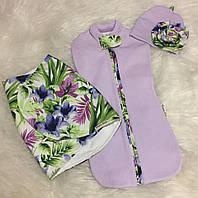 Пеленка Кокон - Двойка Цветок Сирени  0-2мес