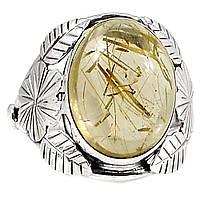Рутил золотой волосатик, серебро 925, кольцо, 263КР