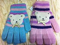 Женские одинарные перчатки из ангоровой шерсти с аппликацией мишки