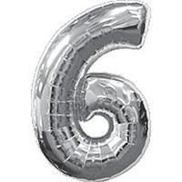 Фольгированный воздушный шар цифра 6 серебро 80 см