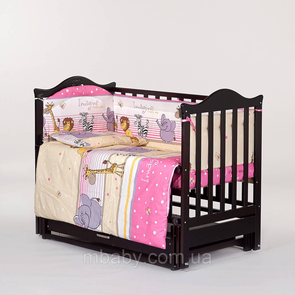 """Детский постельный комплект """"Сафари Розовый"""" 6 элементов"""
