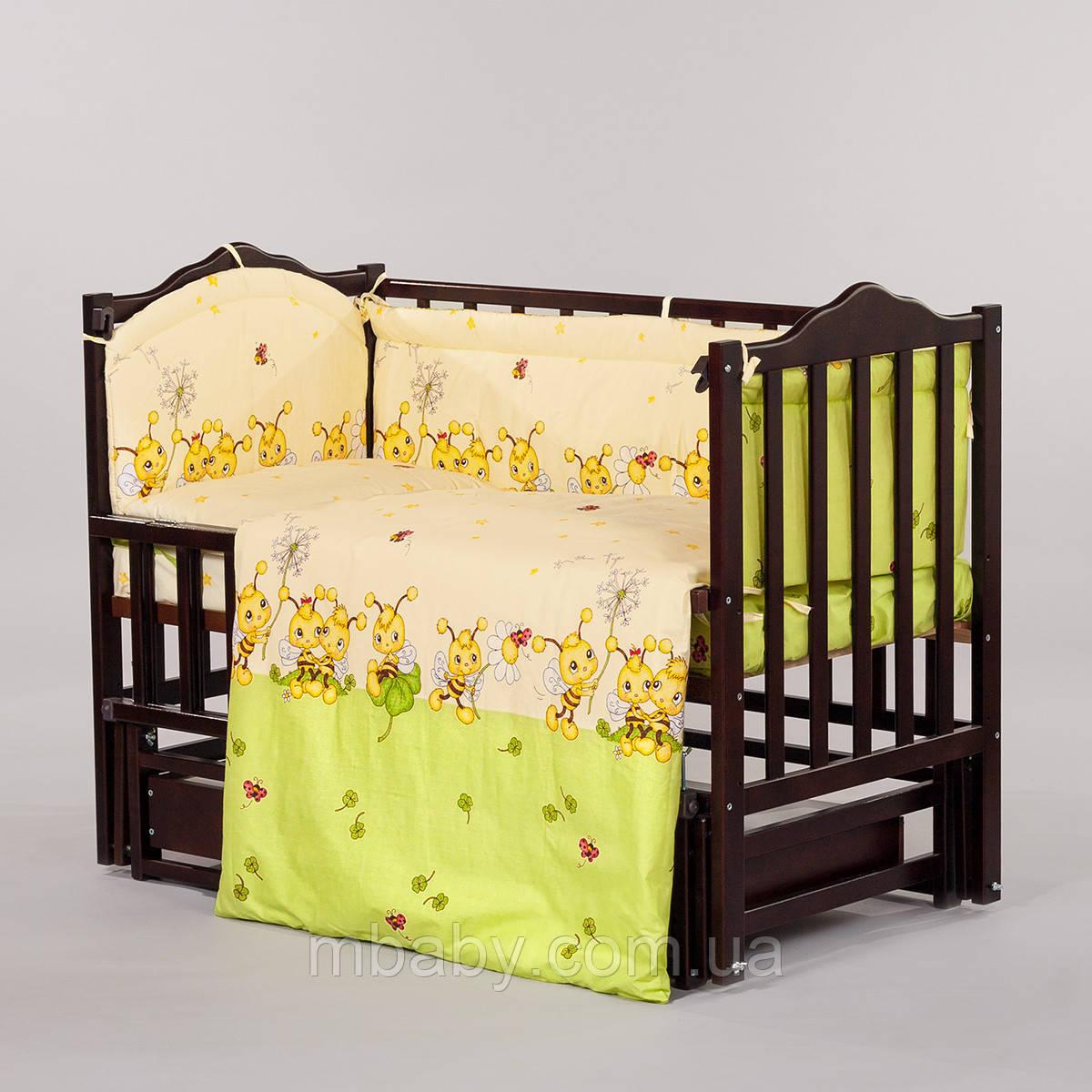 """Детский постельный комплект """"Пчелки Салатовые"""" 6 элементов"""