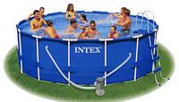 Каркасный бассейн Metal Frame Pool Set 305 x 76 см Intex в комплекте фильтр насос для очистки бассейна