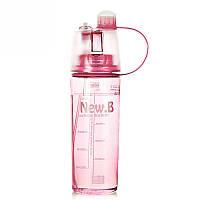 Спортивная бутылка с распылителем 0,6 0.6, Розовый
