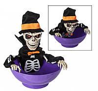 Скелет-тарелка, реагирующий на движения, прикол на Хэллоуин