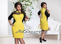Комбинированное короткое платье большого размера с воротничком