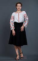 Вышиванка женская, длинный рукав, красно черная вышивка