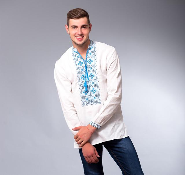 Мужская льняная сорочка с вышивкой крстиком 2fc61e4370e83