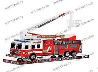 Пожарная машина SH-8855, инерционная, 41*16*11 см, подвижная стрела, в слюде, отличный подарок ребенку