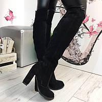 Женские сапоги ботфорты на каблуке 10 см, натуральная замша, черные / высокие ботфорты  женские, замшевые