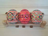 Писанки пасхальные 60х50 (деревянные расписные яйца), ромбы подпоясанные розовые
