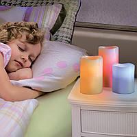 Набор из 3 LED свечей с дистанционным управлением, 12 цветов