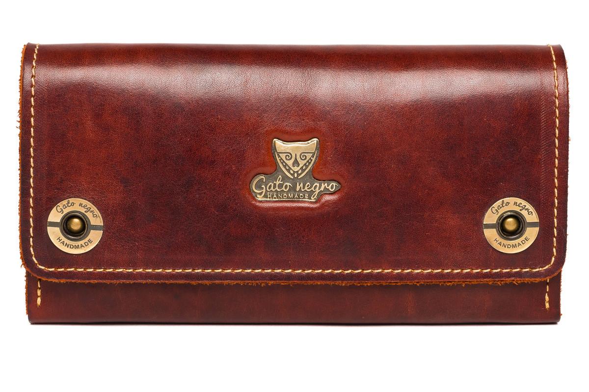 afd4c1361110 Кожаный кошелек клатч ручной работы Alfa Big женский, коричневый (женские  кошельки из натуральной кожи)