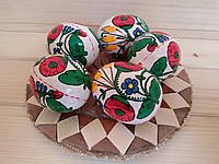 Писанки пасхальные 60х45 (деревянные расписные яйца), цветочный орнамент, белые