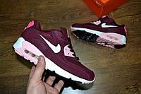 Женские кроссовки в стиле NIKE Air Max 90 кожа бордовые с розовым