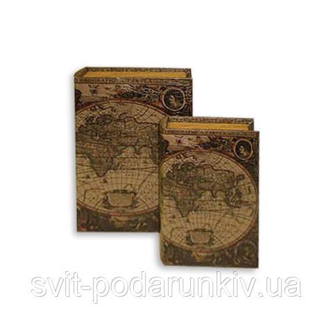 Книга шкатулка с изображением старинной карты