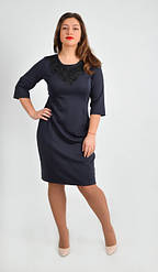 Нарядное темно синее платье до колена, увеличенных размеров