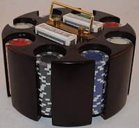 Покер набор на 200 фишек с вращающейся деревянной подставкой - премиум класс