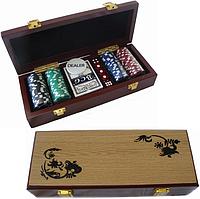 Покерный набор на 100 фишек в деревянном сундучке