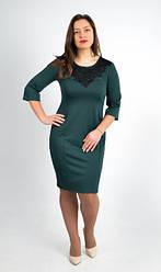 Модное платье с кружевными вставками, увеличенных размеров