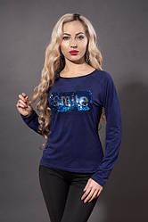 Молодежный замшевый свитшот синего цвета с паеткой SMILE.