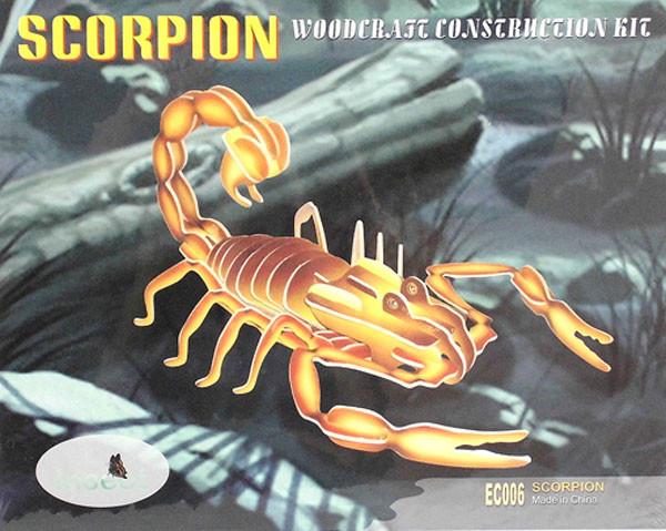 Сборная 3D модель (пазлы 3D), 4 пластины цветные - Скорпион