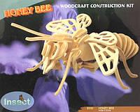 Игрушка, деревянная 3D модель пчелы (4 пластины)