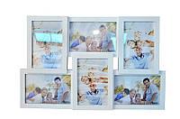 Рамка для фото на 6 фотографий деревянная с подставкой