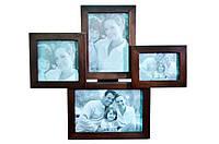 Рамка для фото с подставкой на 4 фотографии (дерево)
