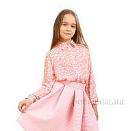 Блуза шифоновая Цветы Kids Couture розовая 128