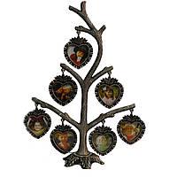 """Рамка дерево """"Сердечки"""" для 7 фотографий 3.5 х 3 см, 15х23 см"""
