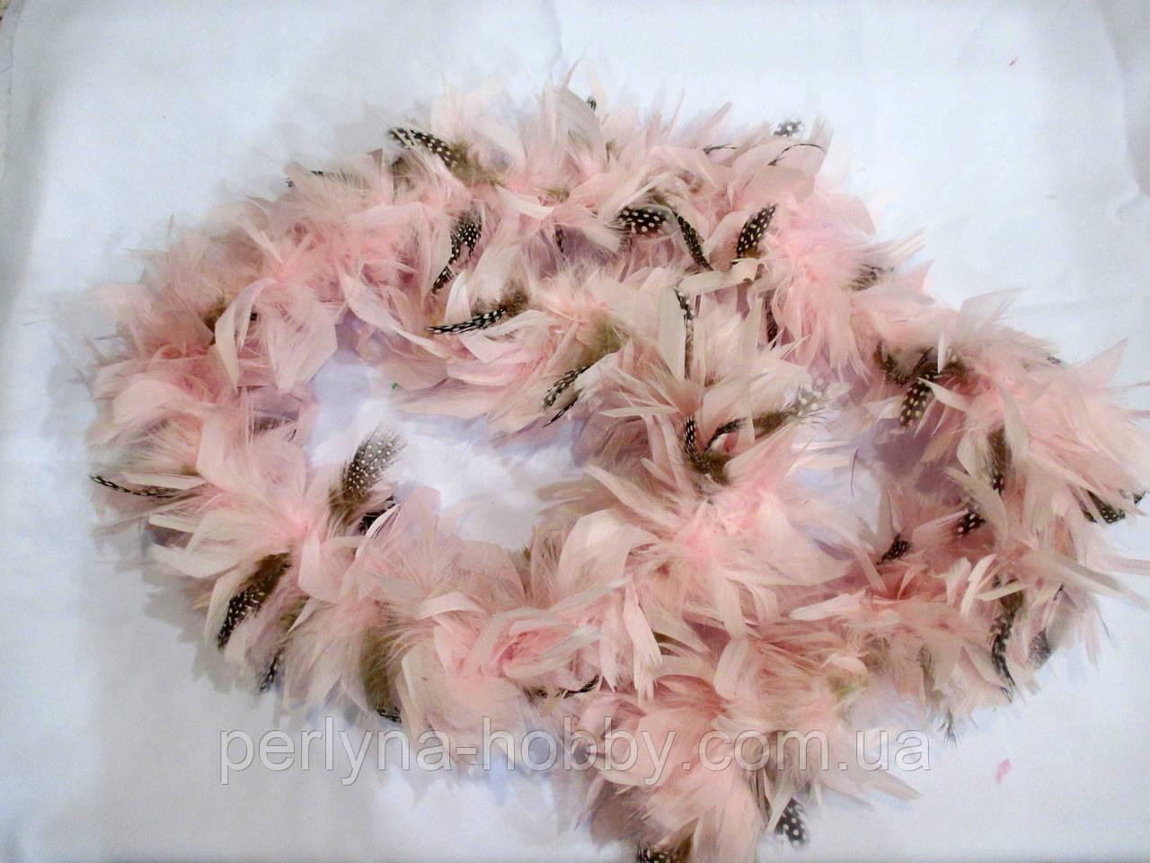 Боа 1,8 м 70 грамм рожевий з сірим