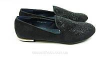 Мокасины женские замша черные