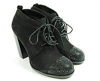 Ботинки женские замшевые на каблуке