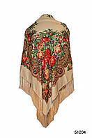 Платок с народным орнаментом бежевый 140*140