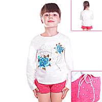 Кофта детская для девочек с длинным рукавом Розы в саду с пайетками и завязочками по бокам , цвет белый