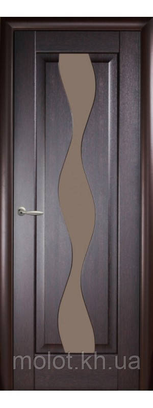 """Межкомнатные двери """" Волна со стеклом сатин """""""