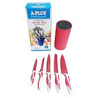 Ножи кухонные керамические А-Плюс KF-1827, 5 штук, пластиковая подставка, пластиковая рукоять