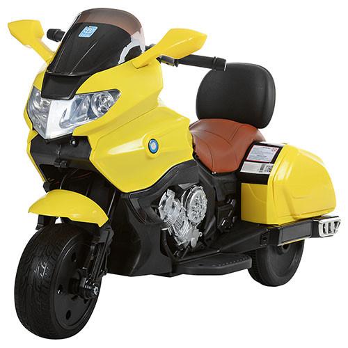 Детский Мотоцикл BMW M 3277 EL желтый с мягким сиденьем, колеса EVA