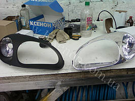 Установка биксеноновых линз G5 с покраской накладок на Daewoo  Lanos 3
