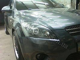 Установка биксеноновых линз G5 с глазами с покраской накладок на Kia Ceed 8