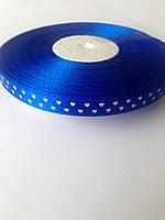 Лента атласная синяя с сердцами 1 см