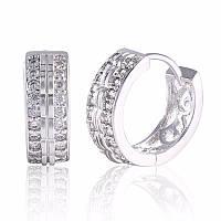 Сережки двосторонні з фіанітами Краса срібло, фото 1