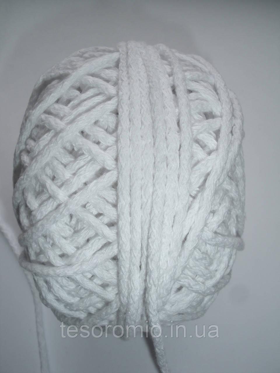 Шнур хлопковый 3мм диаметр белый
