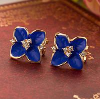 Серьги Синие цветы