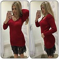 Женское платье свитер с кружевом