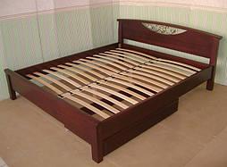 """Деревянная кровать """"Фантазия"""" с кованным элементом (190*160), массив дерева - ольха, покрытие - """"итальянский орех"""" (№ 462). 2"""