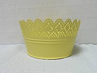 Кашпо металлическое ажурное-2, желтое, 19см