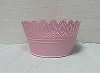 Кашпо металлическое ажурное-2, розовое, 19см